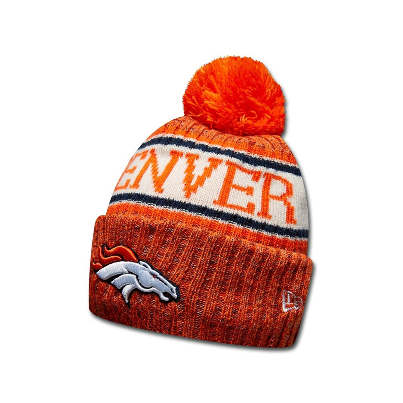 b761de18e9c EW ERA Denver Broncos NFL sideline knit bobble beanie hat  orange