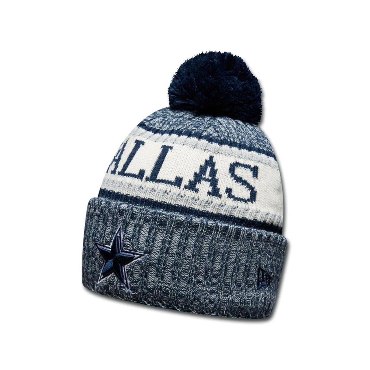 bf154044367 EW ERA Dallas Cowboys NFL sideline knit bobble beanie hat  blue