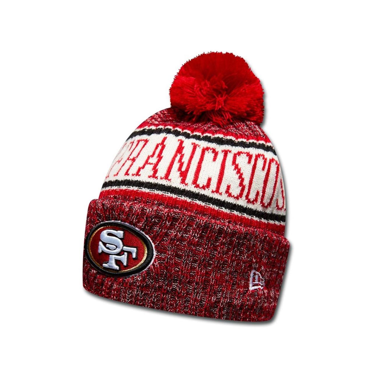 3c983428 NEW ERA San Fransisco 49ers NFL sideline knit bobble beanie hat [red]