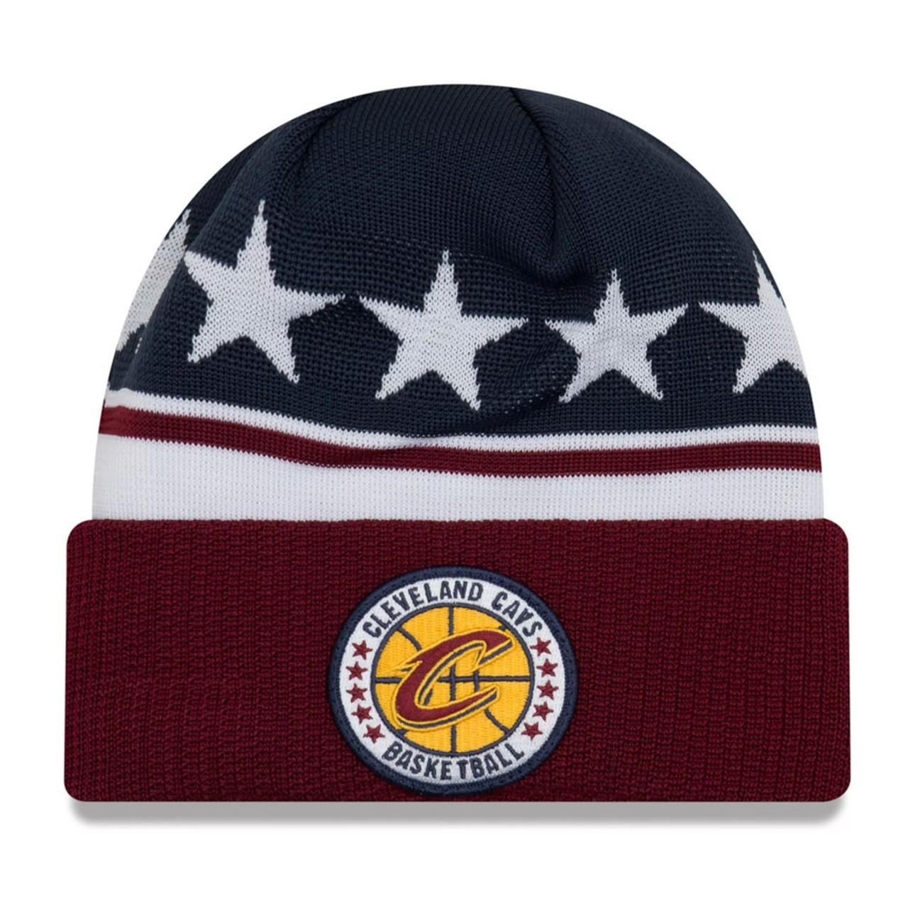 NEW ERA cleveland cavaliers NBA tip-off beanie hat  navy burgandy ... 391e2f68fe3f