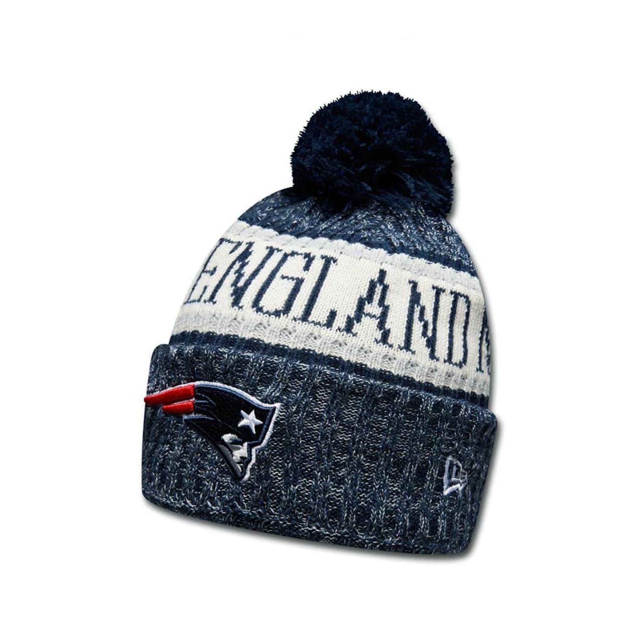 951b93dd134976 NEW ERA New England Patriots NFL sideline knit bobble beanie hat ...