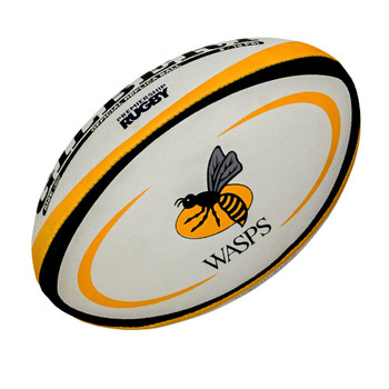 GILBERT wasps midi (size 2) rugby ball [white/gold/blk]