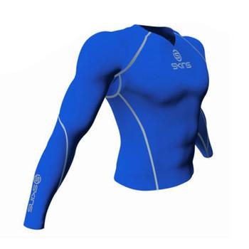 SKINS longsleeve V-Neck Compression top [royal blue]