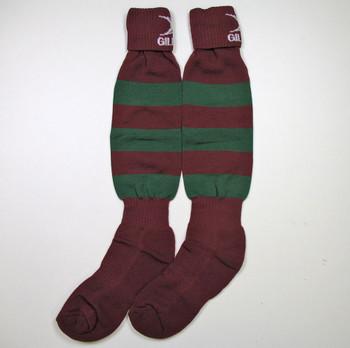 GILBERT teamwear hooped rugby sock junior [maroon/green]
