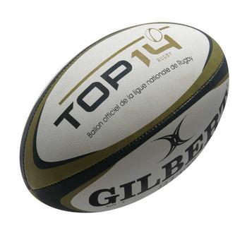 GILBERT zenon training Top 14 rugby ball [white/black/gold]-Size 5