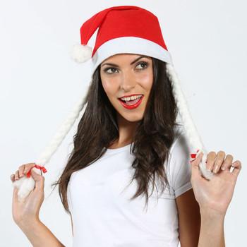 CHRISTMAS santa hat with plaits