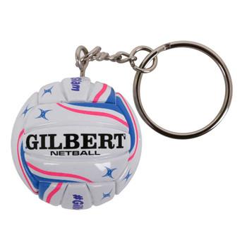 GILBERT netball keyring [white/pink]