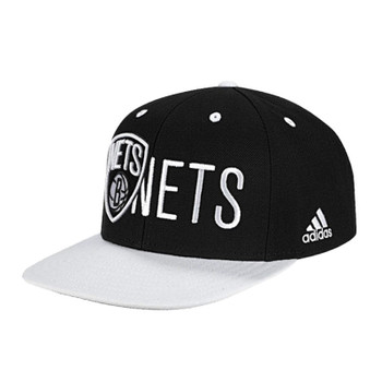 ADIDAS flatbrim Brooklyn Nets basketball flat cap [black/white]