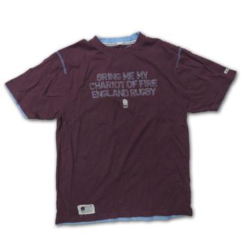 England Rugby classic tee shirt crew neck logo jerusalem size M  [aubergine]