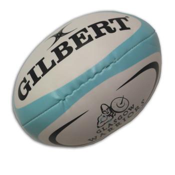 GILBERT glasgow warriors mini (14cm approx) rugby sponge ball [white/sky]