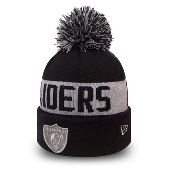 NEW ERA oakland raiders NFL black collection knit bobble beanie hat [black/grey]