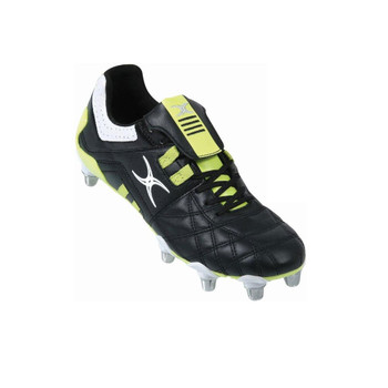 GILBERT Jink VX1 Lo Cut Soft Toe 8 Stud Rugby Boots [black/lime]