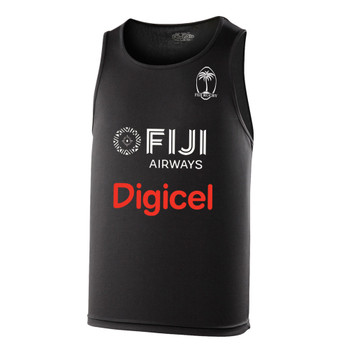 FIJI rugby performance training singlet / gym vest [black]