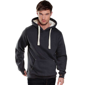 EGGCATCHER heavy weight hooded sweat with chunky cord and iphone pouch (Black/Malange)