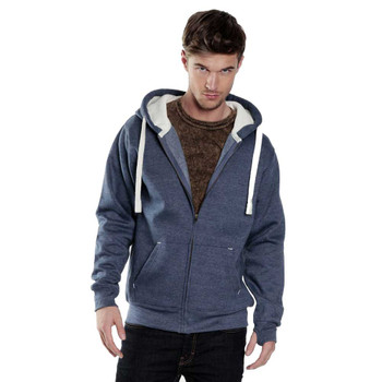 EGGCATCHER heavy weight Zipped hooded sweat with chunky cord and iphone pouchs (Navy/Malange)
