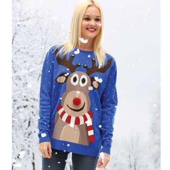 CHRISTMAS reindeer 3D knitted christmas jumper