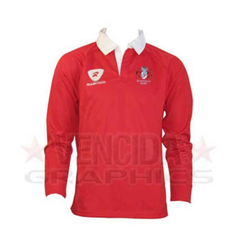 RUGBYTECH gloucester rugby kids long sleeve classic rugby shirt [red]