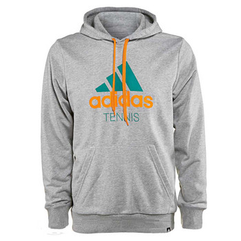 ADIDAS tennis sequential logo hooded sweat [grey]