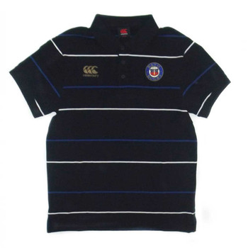 CCC Bath Rugby Cotton Stripe Media Polo Shirt [black]