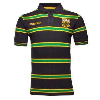 MACRON northampton saints striped rugby polo shirt [blk/grn/yel]