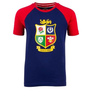 British and Irish lions kids raglan logo t-shirt [navy/red]