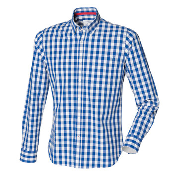 FRONT ROW slim fit cotton check shirt [blue/white]
