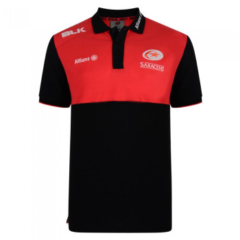BLK saracens rugby adults media polo [black/red]