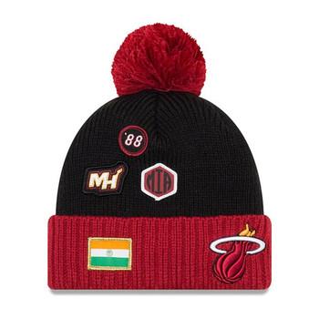 NEW ERA miami heat NBA basketball team draft cuffed knit hat with pom [black/red]