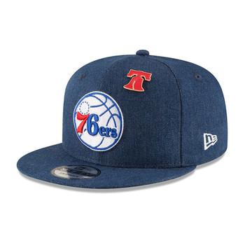 NEW ERA philadelphia 76ers 9fifty adjustable basketball snapback draft [denim]