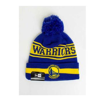 NEW ERA golden state warriors NBA basketball draft cuffed knit hat Team Jake with pom [royal/gold]