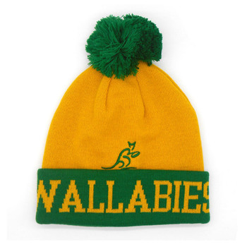 BRANDCO Australia Wallabies Rugby Bobble Beanie Hat one size [yellow/green]