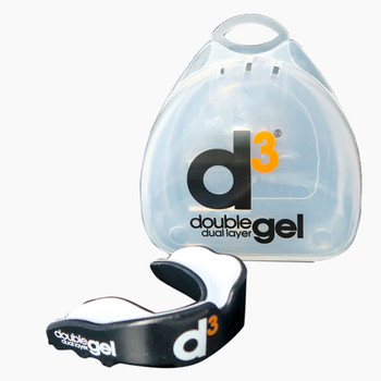 D3 double gel rugby mouthguard [black/white]