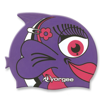 VORGEE miss fish girls silicone swim cap [purple]