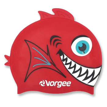 VORGEE piranha silicone swim cap [red]