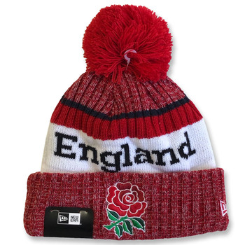 NEW ERA england rugby RFU thermal bobble knit hat [red]