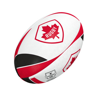 GILBERT canada supporters rugby ball [white/red] size 5