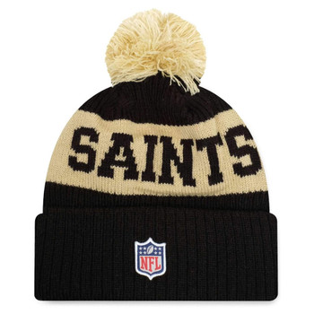 NEW ERA new orleans saints NFL sideline sport knit bobble beanie hat [black/gold]