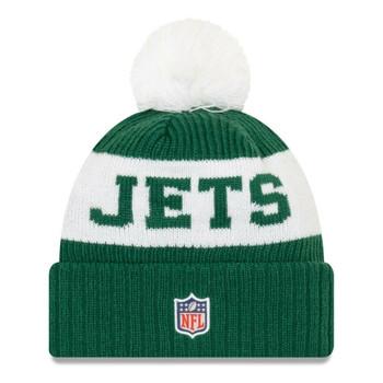 NEW ERA new york jets NFL sideline sport knit bobble beanie hat [green/white]