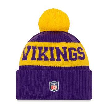 NEW ERA minnesota vikings NFL sideline sport knit bobble beanie hat [purple/yellow]