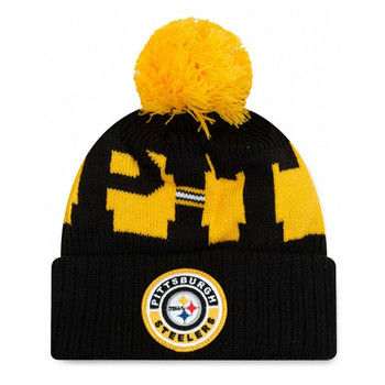 NEW ERA pittsburg steelers NFL sideline sport knit bobble beanie hat [black/yellow]