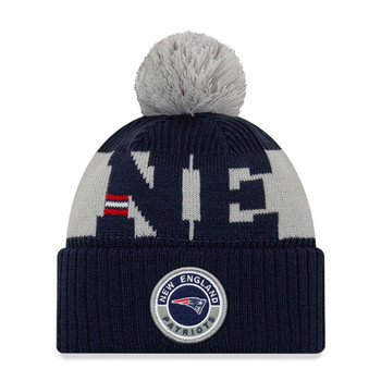 NEW ERA new england patriots NFL sideline sport knit bobble beanie hat [navy/grey]