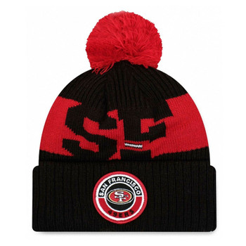 NEW ERA san francisco 49ers NFL sideline sport knit bobble beanie hat [black/red]