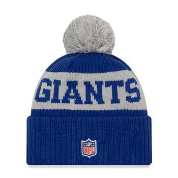 NEW ERA new york giants NFL sideline sport knit bobble beanie hat [blue/grey]
