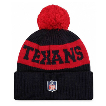 NEW ERA houston texans NFL sideline sport knit bobble beanie hat [Navy/red]