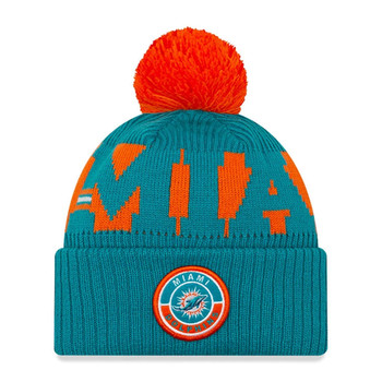 NEW ERA miami dolphins NFL sideline sport knit bobble beanie hat [turquoise/orange]
