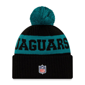 NEW ERA jacksonville jaguars NFL sideline sport knit bobble beanie hat [black/sea green]