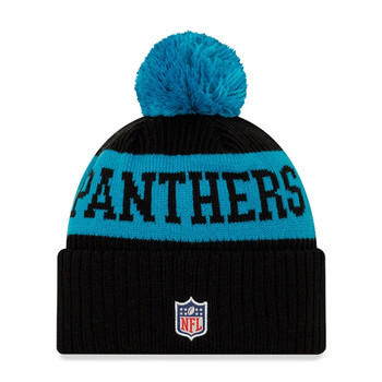 NEW ERA carolina panthers NFL sideline sport knit bobble beanie hat [black/aqua blue]