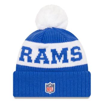 NEW ERA los angeles rams NFL sideline sport knit bobble beanie hat [blue/white]