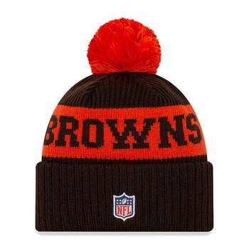 NEW ERA cleveland browns NFL sideline sport knit bobble beanie hat [brown/orange]