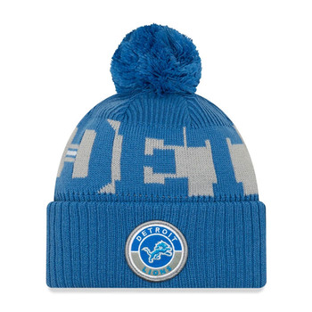 NEW ERA detroit lions NFL sideline sport knit bobble beanie hat [blue/grey]